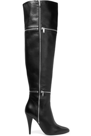 SAINT LAURENT Zip-detailed leather over-the-knee boots