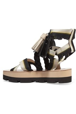 MSGM Tasseled canvas platform sandals