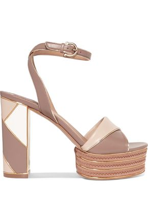 SALVATORE FERRAGAMO Gaga paneled leather platform sandals