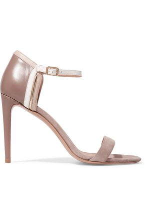 SALVATORE FERRAGAMO Suede, patent and smooth leather sandals