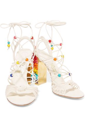 SALVATORE FERRAGAMO Beaded leather sandals