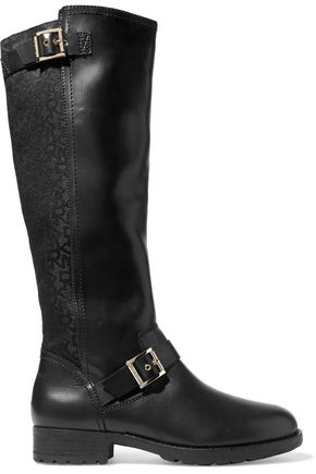 DKNY Nadia buckled faux leather and canvas knee boots