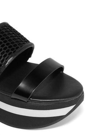 DKNY Valene mesh-paneled leather platform sandals