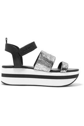DKNY Valene metallic cracked-leather platform sandals