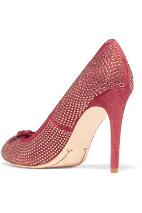 TORY BURCH Phoenix crystal-embellished suede pumps
