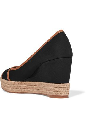 TORY BURCH Majorca leather-trimmed canvas wedge sandals