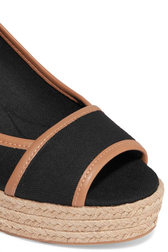 3aa907242e17 Majorca leather-trimmed canvas wedge sandals
