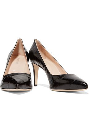SERGIO ROSSI Cracked patent-leather pumps