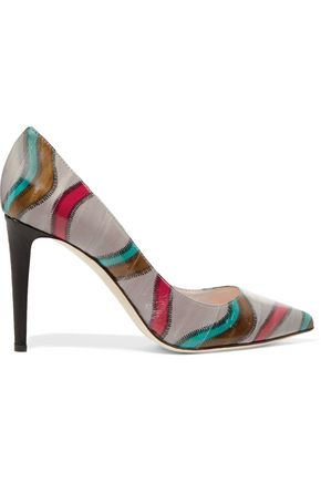SERGIO ROSSI Printed leather pumps