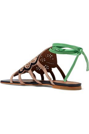 MALONE SOULIERS Ella laser-cut suede and leather sandals