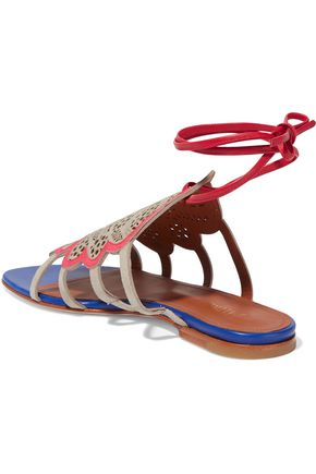 MALONE SOULIERS lla leather-trimmed perforated suede sandals