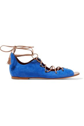 MALONE SOULIERS Savannah leather-trimmed suede sandals
