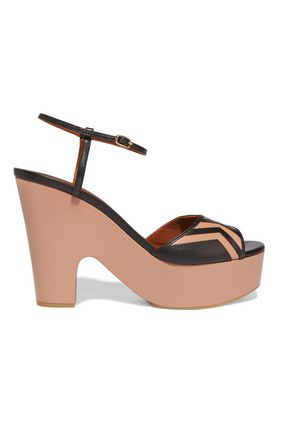 MALONE SOULIERS Gilda paneled leather platform sandals