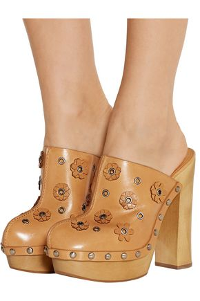 MICHAEL KORS COLLECTION Prim appliquéd leather platform clogs