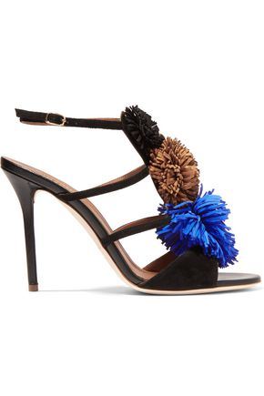 MALONE SOULIERS Sherry pompom-embellished suede sandals