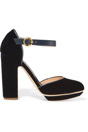 RUPERT SANDERSON Leather-trimmed velvet platform pumps