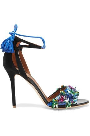 MALONE SOULIERS Gladys embellished satin and suede sandals