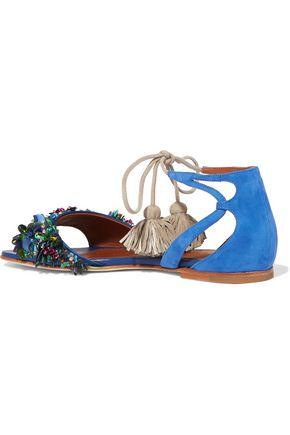 MALONE SOULIERS Gladys tassel-trimmed embellished suede sandals