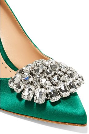 RUPERT SANDERSON Jewel Blair crystal-embellished satin pumps