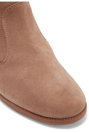 SCHUTZ Eloana faux fur-trimmed suede wedge boots