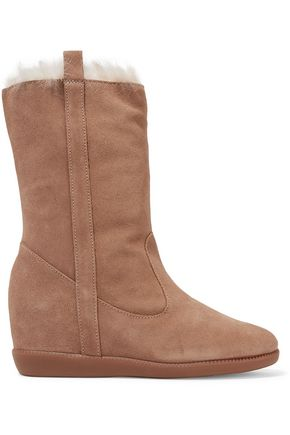 SCHUTZ Eloana faux fur-trimmed suede wedge boots