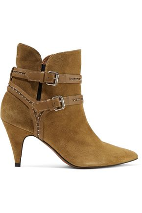 IRO Salix studded leather-trimmed suede ankle boots