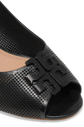 TORY BURCH Perforated leather wedge sandals