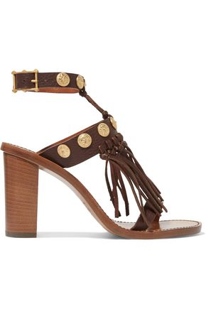 VALENTINO Studded fringed textured-leather sandals
