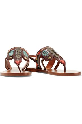 VALENTINO Embroidered textured-leather sandals