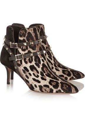 VALENTINO Rockstud leopard-print calf hair ankle boots
