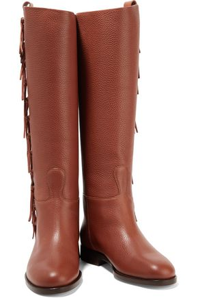 VALENTINO Fringed textured-leather boots