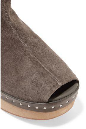 RICK OWENS Suede platform ankle boots