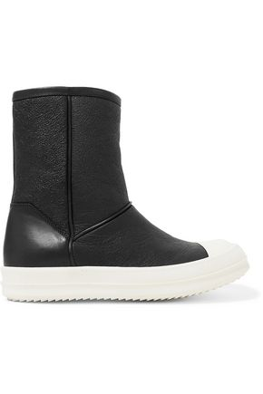 RICK OWENS Shearling-lined textured-leather ankle boots