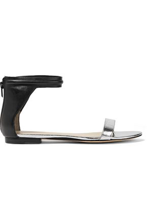 3.1 PHILLIP LIM Kiddie smooth and metallic croc-effect leather sandals