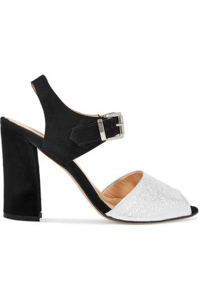 8 Metallic textured-leather and suede sandals