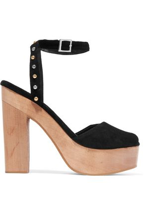 MAJE Flash studded suede platform sandals