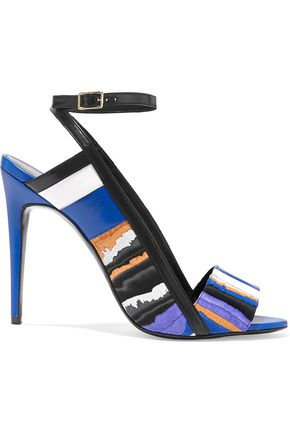 PIERRE HARDY Leather-trimmed printed suede sandals