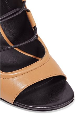3.1 PHILLIP LIM Drum lace-up paneled leather and satin sandals