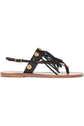 VALENTINO Fringed embellished textured-leather sandals