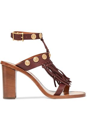 VALENTINO GARAVANI Fringed textured-leather sandals