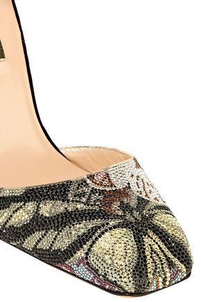 VALENTINO GARAVANI Crystal-embellished suede pumps