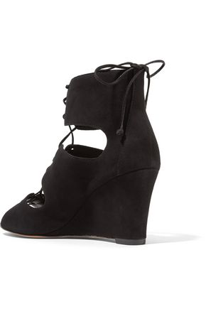 SCHUTZ Adisa lace-up cutout suede wedge sandals