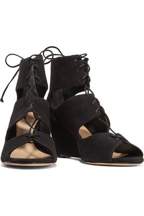 SCHUTZ Adisa lace-up cutout suede wedge sandals
