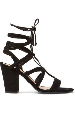 SCHUTZ Iggy cutout suede lace-up sandals