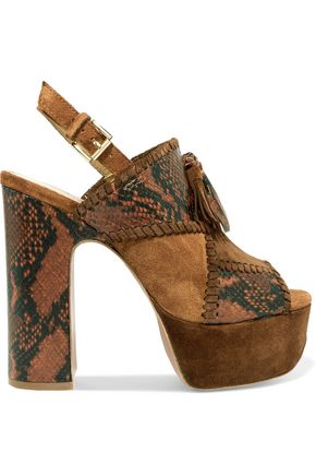 ASH Bohemian whipstitched snake-effect leather and suede platform sandals