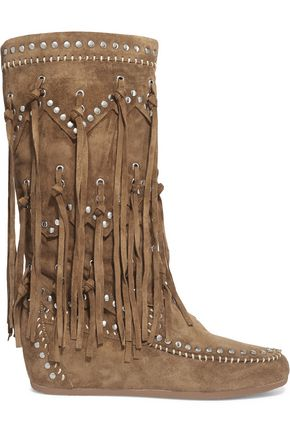 ASH Shilo fringed studded suede wedge knee boots