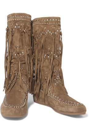 32e1e0342d1 Shilo fringed studded suede wedge knee boots | ASH | Sale up to 70 ...