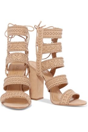 SCHUTZ Balee whipstitched patent-leather and suede sandals