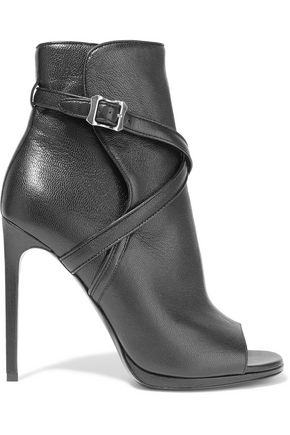 SAINT LAURENT Buckled textured-leather ankle boots