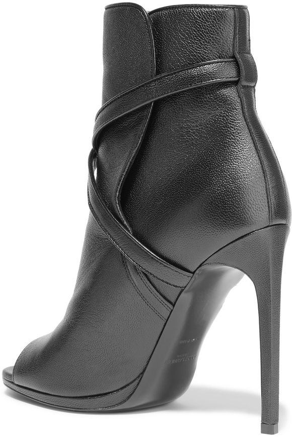 Buckled textured-leather ankle boots | SAINT LAURENT | Sale up to 70% off |  THE OUTNET
